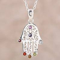 Multi-gemstone pendant necklace, 'Hamsa Chakra' - Multi-Gemstone Hamsa Chakra Pendant Necklace from India