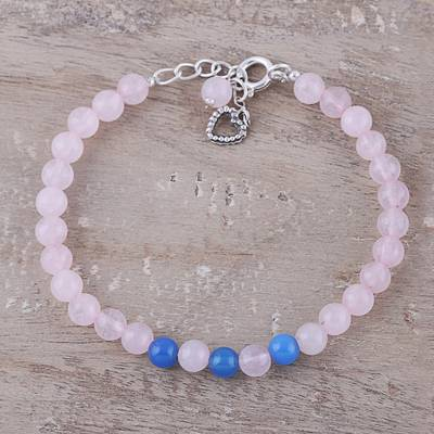 Rose quartz and chalcedony beaded bracelet, 'Pretty Love' - Rose Quartz and Chalcedony Beaded Bracelet from India