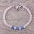 Rose quartz and chalcedony beaded bracelet, 'Pretty Love' - Rose Quartz and Chalcedony Beaded Bracelet from India thumbail