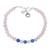 Rose quartz and chalcedony beaded bracelet, 'Pretty Love' - Rose Quartz and Chalcedony Beaded Bracelet from India (image 2a) thumbail