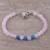 Rose quartz and chalcedony beaded bracelet, 'Pretty Love' - Rose Quartz and Chalcedony Beaded Bracelet from India (image 2b) thumbail