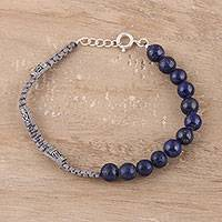 Lapis lazuli beaded macrame bracelet, 'Blue Style' - Lapis Lazuli Beaded Macrame Bracelet from India