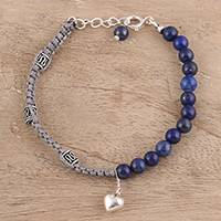 Lapis lazuli beaded macrame bracelet, 'Pretty Heart' - Lapis Lazuli Beaded Macrame Heart Bracelet from India