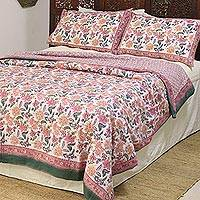 Cotton duvet cover and pillow sham set, 'Festive Spring' (3 piece) - Floral Block-Printed Cotton Duvet Cover and Sham Set (3)