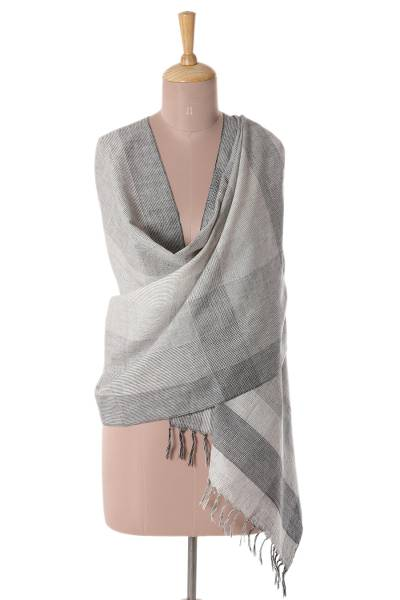 Cotton shawl, 'Beautiful Grey' - Patterned Cotton Shawl in Grey from India