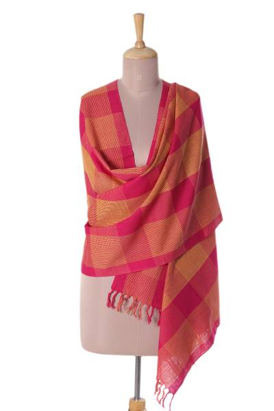 Cotton shawl, 'Vibrant Flair' - Patterned Cotton Shawl in Fuchsia and Daffodil from India
