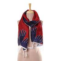Silk scarf, 'Crimson Hands in Unity' - Hand Motif Silk Scarf in Crimson from India