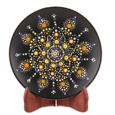 Hand-Painted Ceramic Decorative Plate in Yellow from India