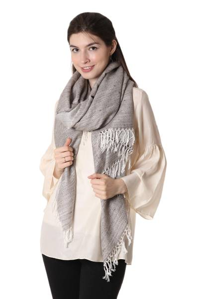 Wool blend shawl, 'Elegant Bliss' - Wool Blend Shawl in Clay and White from India