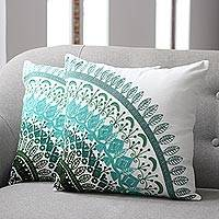 Cotton cushion covers, 'Divine Orchard in Green' (pair) - Embroidered Cotton Cushion Covers in Green from India (Pair)
