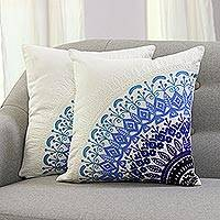 Cotton cushion covers, 'Divine Orchard in Blue' (pair) - Embroidered Cotton Cushion Covers in Blue from India (Pair)