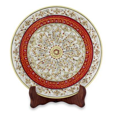 Gold-Tone Floral Marble Decorative Plate from India