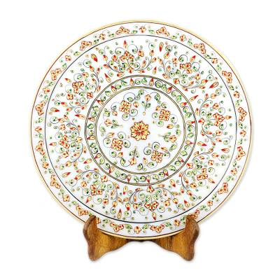 Floral Motif Marble Decorative Plate from India