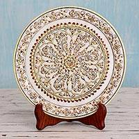 Marble decorative plate, 'Golden Brilliance' - Hand-Painted Floral Marble Decorative Plate from India