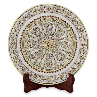 Hand-Painted Floral Marble Decorative Plate from India