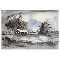 'Midnight Charm' - Signed Black and White Landscape Painting from India