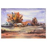 'Rustic Beauty' - Watercolor Impressionist Landscape Painting from India