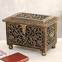 Mango wood jewelry box, 'Classic Beauty' - Handmade Mango Wood Jewelry Box from India