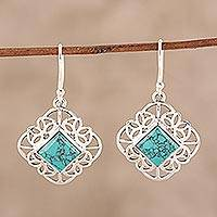 Sterling silver and composite turquoise dangle earrings, 'Magical Squares' - Sterling Silver and Square Composite Turquoise Earrings