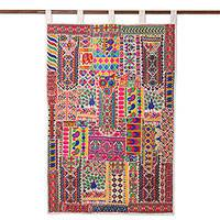 Recycled cotton blend wall hanging, 'Rajasthan Delight' - Handmade Cotton Blend Patchwork Wall Hanging from India