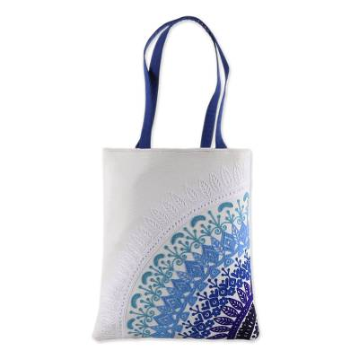 Embroidered Mandala Motif Cotton Tote from India