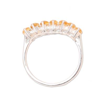 Citrine band ring, 'Golden Array' - 2-Carat Citrine Band Ring from India