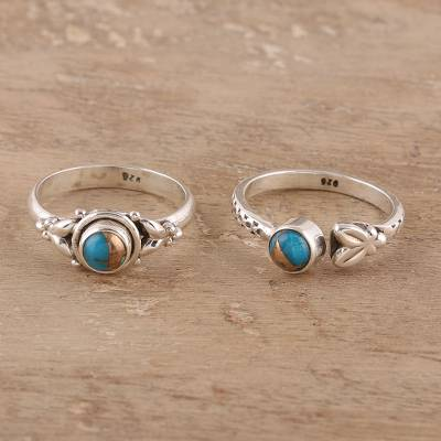 Sterling silver and composite turquoise rings, 'Turquoise Beauty' (pair) - Sterling Silver and Composite Turquoise Rings (Pair)