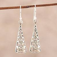 Sterling silver dangle earrings, 'Spring Pyramids' - Floral Butterfly Sterling Silver Dangle Earrings from India