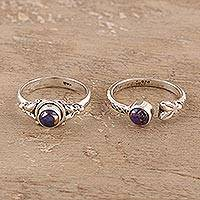Sterling silver rings, 'Turquoise Beauty in Purple' (pair) - Purple Composite Turquoise and Sterling Silver Rings (Pair)