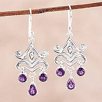 Amethyst chandelier earrings, 'Glimmering Dance' - 2-Carat Amethyst Chandelier Earrings from India