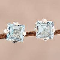 Blue topaz stud earrings, 'India Charm' - Sparkling Blue Topaz Stud Earrings from India