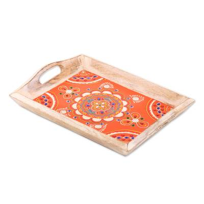 Floral Mango Wood Decorative Tray from India
