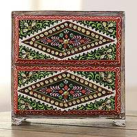 Wood jewelry chest, 'Traditional Flair' - Hand-Painted Mango Wood Jewelry Chest from India