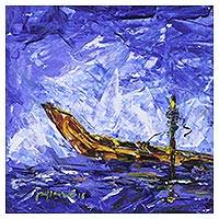 'Tide' - Signed Impressionist Painting of a Boat from India