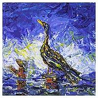 'I Am Hungry' - Signed Impressionist Painting of a Bird from India