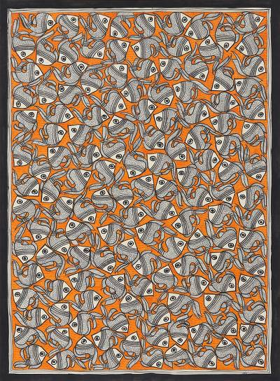 Madhubani Fish Painting in Orange from India (20.5x29)