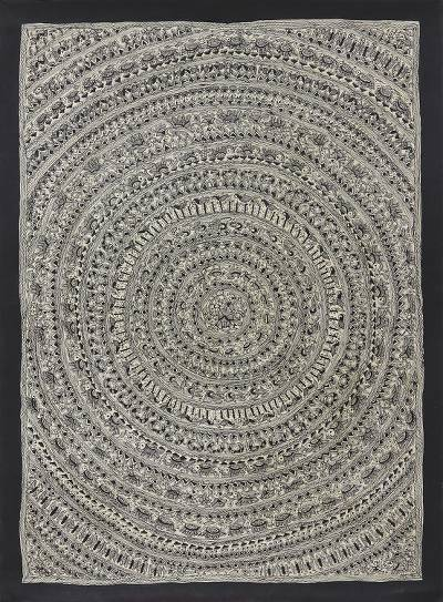 Black and White Traditional Madhubani Painting from India