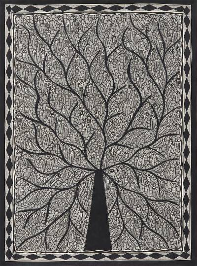 Black and White Madhubani Tree Painting from India