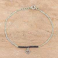 Spinel beaded anklet, 'Gemstone Love' - Black Spinel Beaded Heart Anklet from India