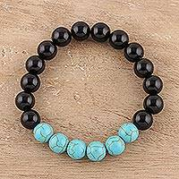 Onyx and reconstituted turquoise beaded stretch bracelet, 'Gleaming Union' - Onyx and Reconstituted Turquoise Beaded Stretch Bracelet