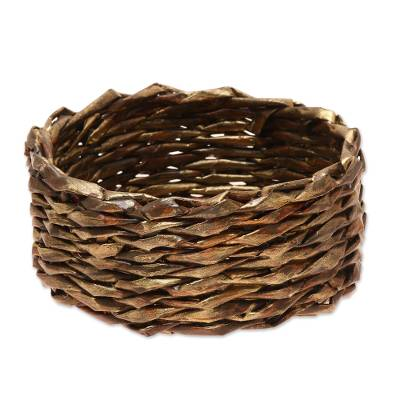 Gold-Tone Recycled Paper Basket from India