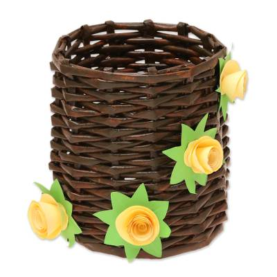 Floral Recycled Paper Basket from India
