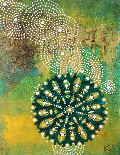 'Anahata Chakra' - Colorful Mixed Media Abstract Painting from India