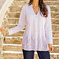 Cotton blouse, 'Hakoba in White' - Eyelet Pattern Cotton Blouse in White from India
