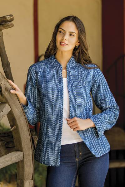 Cotton jacket, 'Indigo Beauty' - Hand Crafted Indian Indigo Cotton jacket
