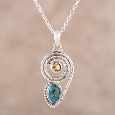 Citrine and composite turquoise pendant necklace, 'Wondrous Coil' - Citrine and Composite Turquoise Pendant Necklace from India