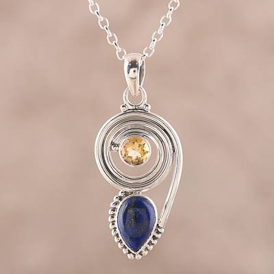 Lapis lazuli and citrine pendant necklace, 'Wondrous Coil' - Lapis Lazuli and Citrine Pendant Necklace from India