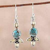 Citrine and composite turquoise dangle earrings,