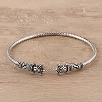 Sterling silver cuff bracelet, 'Turtle Fantasy' - Sterling Silver Turtle Cuff Bracelet Crafted in India