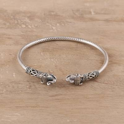 Sterling silver cuff bracelet, Welcome Elephant